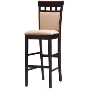 30-Inch Upholstered Panel Back Bar Stool with Fabric Seat, Set of 2