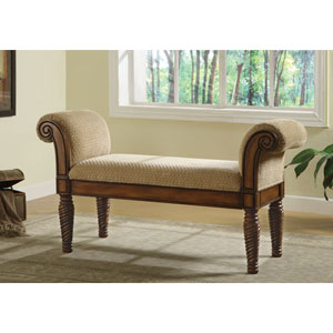 Beige Upholstered Bench with Rolled Arms