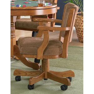 Mitchell Oak Upholstered Arm Game Chair