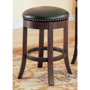 Walnut 24-Inch Swivel Bar Stool with Upholstered Seat, Set of 2