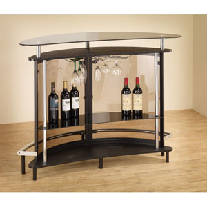 Black Contemporary Bar Unit with Smoked Acrylic Front