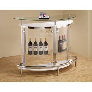 White Contemporary Bar Unit with Clear Acrylic Front