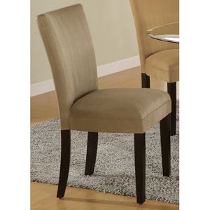 Bloomfield Taupe Microfiber Parson Side Chair, Set of 2