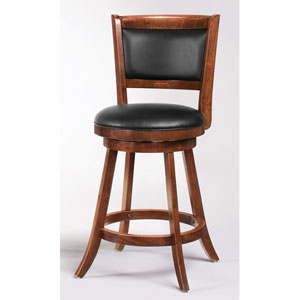Espresso 24-Inch Swivel Bar Stool with Upholstered Seat, Set of 2