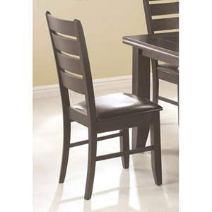 Page Dark Cappuccino Slat Back Dining Side Chair with Upholstered Seat, Set of 2