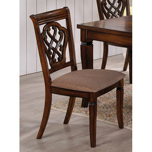Upholstered Dining Chair with Decorative Seat Back, Set of 2