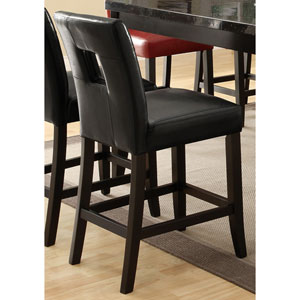 Newbridge Black Counter Height Stool with Vinyl Cushion, Set of 2
