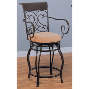 24-Inch Brown Metal Bar Stool with Upholstered Seat