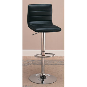 29-Inch Black Upholstered Bar Chair with Adjustable Height, Set of 2