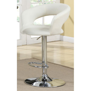 29-Inch White Upholstered Bar Chair with Adjustable Height