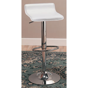 29-Inch White Upholstered Bar Chair with Adjustable Height, Set of 2