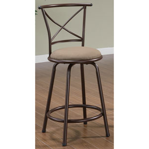 24-Inch Metal Bar Stool with Brown Upholstered Seat and X-Back, Set of 2