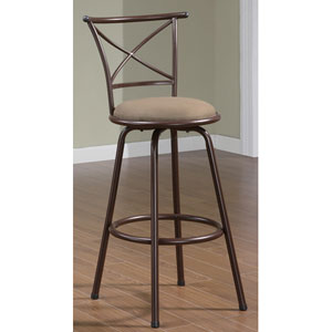 29-Inch Metal Bar Stool with Brown Upholstered Seat and X-Back, Set of 2