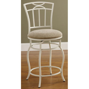 24-Inch White Metal Bar Stool with Upholstered Seat