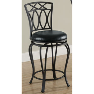 24-Inch Elegant Metal Bar Stool with Black Faux Leather Seat