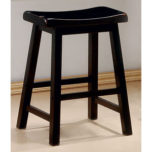 24-Inch Black Wooden Bar Stool, Set of 2