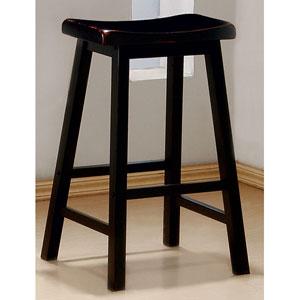 29-Inch Black Wooden Bar Stool, Set of 2
