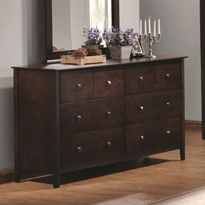Tia Six Drawer Dresser with Brushed Nickel Hardware