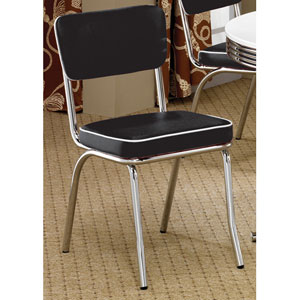 Cleveland Chrome Plated Side Chair with Black Cushion, Set of 2