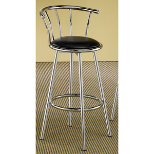 Cleveland Chrome Plated Bar Stool with Upholstered Seat, Set of 2