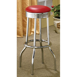 Cleveland Red Chrome Plated Soda Fountain Bar Stool, Set of 2