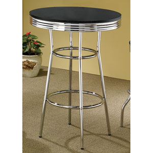 Cleveland Fifties Soda Fountain Chrome Bar Table with Black Top