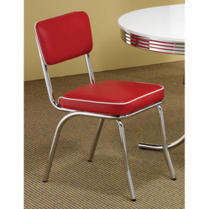 Cleveland Red Chrome Plated Side Chair, Set of 2