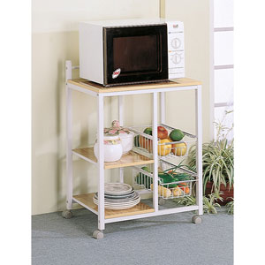 White Serving Cart with Three Shelves and Two Storage Compartments