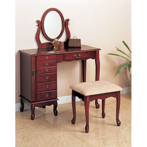Traditional Cherry Vanity and Stool with Fabric Seat
