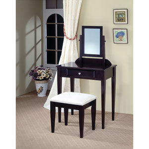 Contemporary Vanity and Stool with Fabric Seat