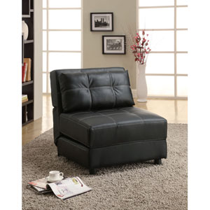 Black Contemporary Armless Lounge Chair/Sofa Bed