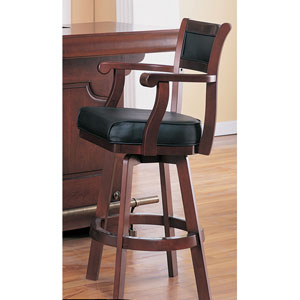 Lambert Bar Stool with Leather Back and Swivel Seat