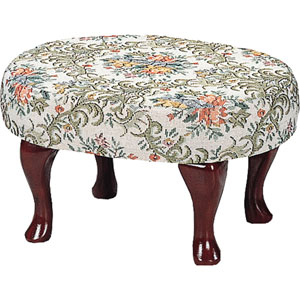 Brown and Red Upholstered Foot Stool with Shapely Legs