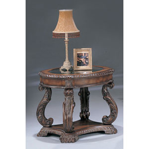 Doyle Traditional Oval End Table with Glass Inlay Top