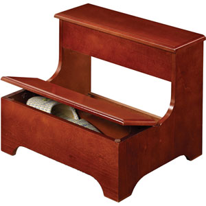 Wood Step Stool Bench with Lower Lift Top Storage