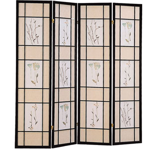 Four Panel Black Frame Screen with Floral Print