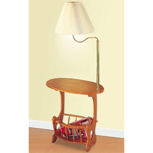 Oak Magazine Storage Lamp Table