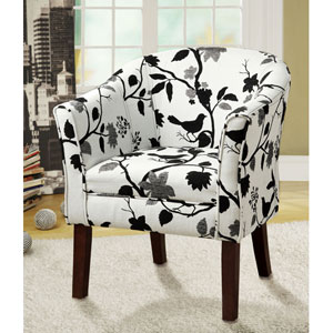 Birds and Flowers Upholstered Accent Chair
