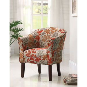 Red Flower Print Upholstered Accent Chair