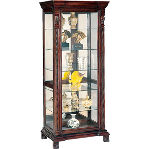 Six Shelf Rectangular Curio Cabinet with Ornate Edges and Decorative Feet