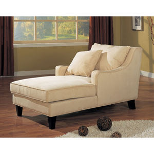 Beige Microfiber Chaise Lounge
