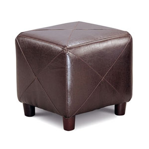 Dark Brown Contemporary Faux Leather Cube Ottoman