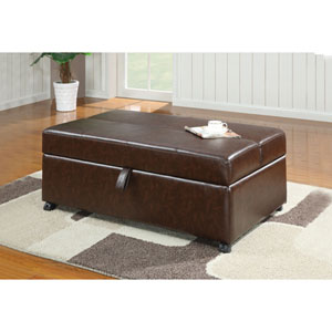 Brown Upholstered Bench with Fold Out Sleeper and Casters