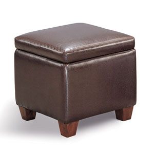 Dark Brown Casual Faux Leather Storage Cube Ottoman