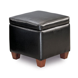 Black Casual Faux Leather Storage Cube Ottoman