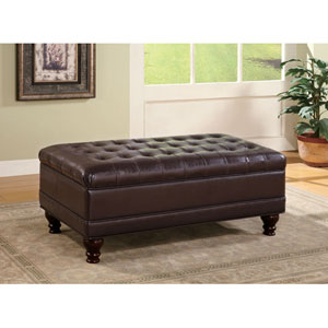 Dark Brown Oversized Faux Leather Storage Ottoman