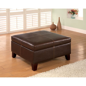Dark Brown Contemporary Square Faux Leather Storage Ottoman