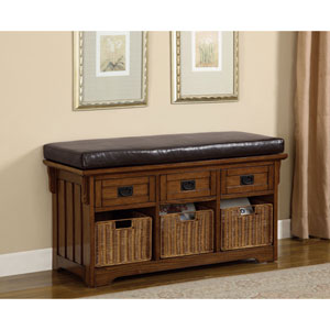 Oak Small Storage Bench with Upholstered Seat