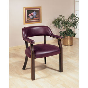 Burgundy Traditional Upholstered Vinyl Side Chair with Nailhead Trim