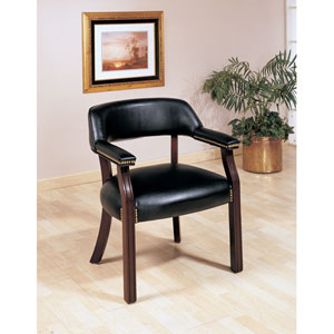 Black Traditional Upholstered Vinyl Side Chair with Nailhead Trim